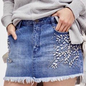 Free People embellished / jeweled denim skirt